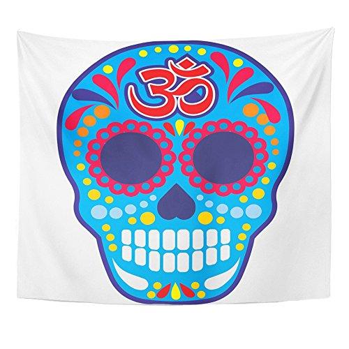Emvency Tapestry Mandala 50x60 inch Home Decor White Aum Sugar Skull with Om Grunge Vintage Design Bone Buddha Death Halloween Hell for Bedroom Living Room Dorm -