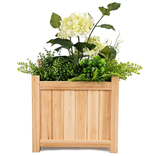 Giantex Portable Flower Planter Box Raised Vegetable Patio Lawn Garden Backyard Elevated Outdoor Wood Planter Boxes (Natural Square) by Giantex (Image #4)