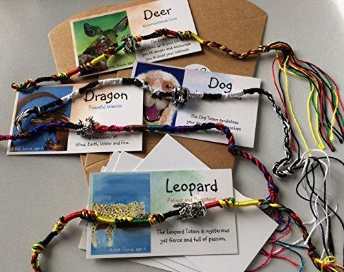 (Smiling Wisdom - Dog Deer Dragon Leopard- 4 Totem Spirit Animal Card Gifts - Children's Birthday, Holiday Favors - Animals Friendship Bracelets- European Beads - Boys Girls Tween Teen - Multi-Colored)