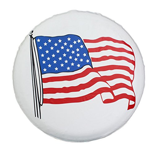 Spare Tire Cover 16 inch Waterproof PVC Leather Wheel Cover American Flag Universal for Jeep Wrangler RV Trailers Toyota RAV4 Honda Hummer Car Tire Diameter 29 - 31 inch