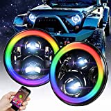 Omotor 7 Inch Jeep Wrangler RGB Halo LED Headlights Assemblies Cree with Multi Color Angle Eye APP Bluetooth Remote For Jeep Wrangler TJ JK Hummer H1 H2 Headlamp -  Headlight-Jeep