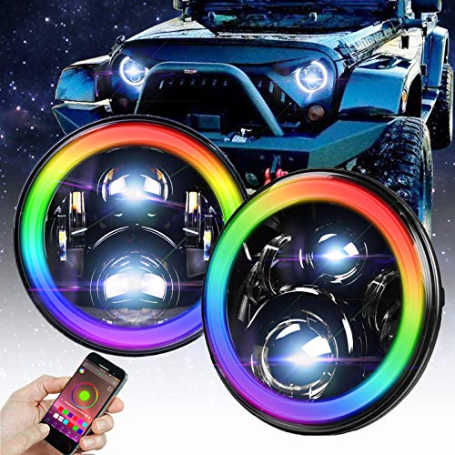Omotor 7 Inch Jeep Wrangler RGB Halo LED Headlights Assemblies Cree with Multi Color Angle Eye APP Bluetooth Remote For Jeep Wrangler TJ JK Hummer H1 H2 Headlamp