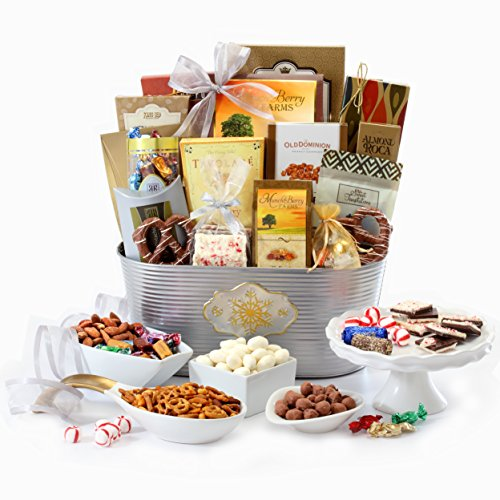 roadway Basketeers The Ultimate Gourmet Gift Basket with Peppermint Bark, Lindt Truffles, Flavored Nuts, Chocolates, Assorted Sweets & more!