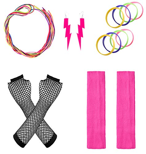 JustinCostume Women's 80s Outfit Accessories Neon Earrings Leg Warmers Gloves, C]()