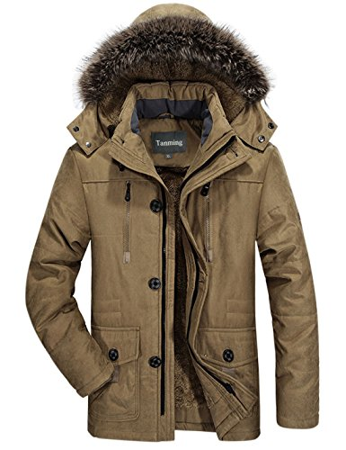 Tanming Men's Winter Warm Faux Fur Lined Coat with Detachable Hood (Medium, Khaki) (Coats For Men Fur Collar)