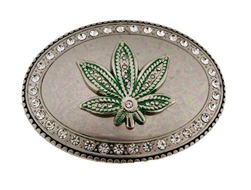 Reggae Marijuana Green Leaf Rhinestone on Border Belt Buckle.