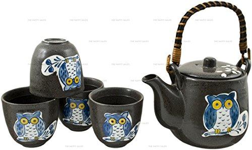 Happy Sales HSTS-OWBK06, Japanese Design Black Porcelain Tea Set Owl