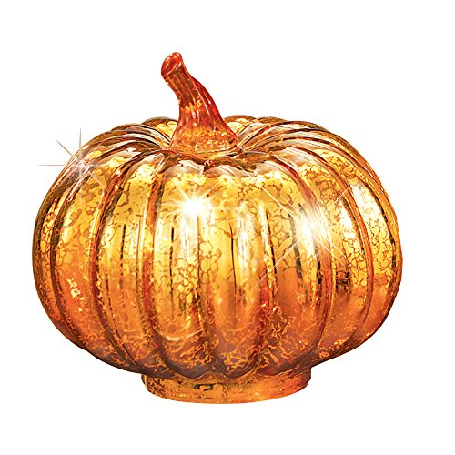 Orange Halloween Lights Home Depot (Collections Etc. Light-Up Faux Mercury Glass Pumpkin with Orange Foil and 6 LED Flickering)