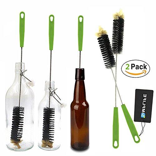 (2-Pack Bottle Brush 17'' Long Brush for Cleaning Narrow Neck Beer Bottle, Wine, Kombucha, Decanter, Narrow Neck Brewing Bottles)