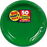 Amscan 630732.03 Reusable Round Plates Party Tableware, Green, One Size