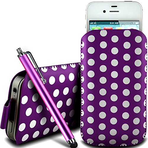 N4U Online - Apple Iphone 4 protection en cuir PU conception Polka Pull Tab cordon glisser Housse Etui Quick Release et Grand Stylus Pen - Violet