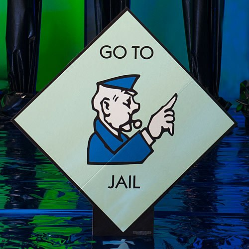 3 ft. 10 in. Monopoly Go to Jail Standee Standup Photo Booth Prop Background Backdrop Party Decoration Decor Scene Setter Cardboard Cutout (Jail Photo)