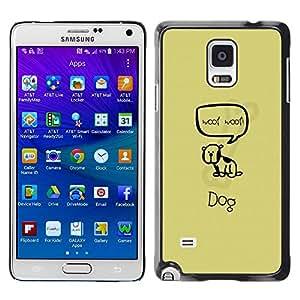 Smartphone Rígido Protección única Imagen Carcasa Funda Tapa Skin Case Para Samsung Galaxy Note 4 SM-N910F SM-N910K SM-N910C SM-N910W8 SM-N910U SM-N910 Cute Woop Woop Dog / STRONG
