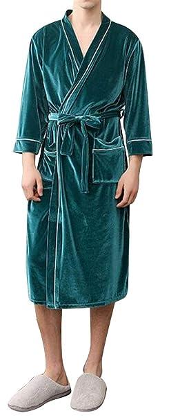 763f3226a877 Bloomyma Men Fall   Winter Warm Pleuche ComfortSoft Relaxed Fit Kimono  Nightgown Robe Nightwear Bathrobe 2