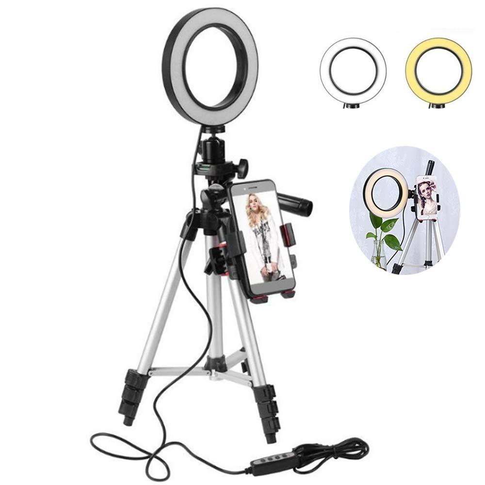 Leegoal Selfie Ring Light with Tripod Stand and Phone Holder, 5.7'' Dimmable LED Camera Ring Light with 3 Light Modes & 11 Brightness Level for YouTube Video/Live Stream/Makeup