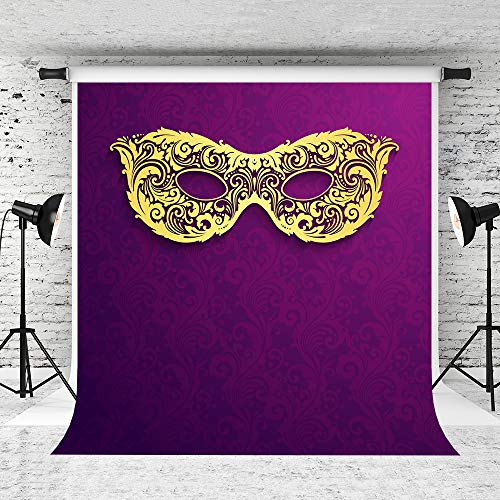 Kate 5x7ft Mardi Gras Photography Backdrop Festival Decoration Mysterious Mask Purple Background ()