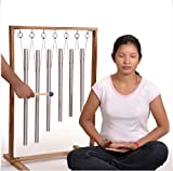 6 Sacred Solfeggio Healing Tuned Pipes louder than tuning fork with Large Wood Stand and mallet