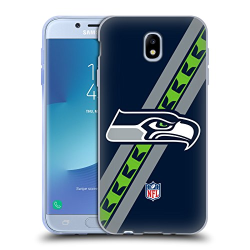 Official NFL Stripes Seattle Seahawks Logo Soft Gel Case for Samsung Galaxy J7 2017 / Pro