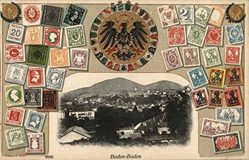 - View of Town and Stamps Baden-Baden, Germany Original Vintage Postcard