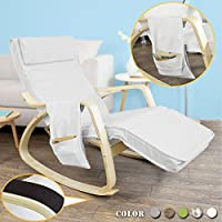 Haotian FST18-W, Comfortable Relax Rocking Chair, Gliders,Lounge Chair Recliners with Adjustable Footrest & Side Pocket ,white