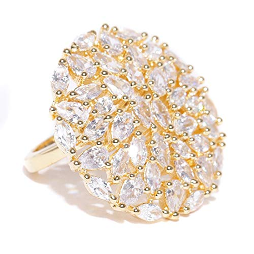 Jewels Galaxy Sparkling White AAA CZ Delicate Florets Design Gold Plated Traditional Adjustable Ring for Women/Girls Free Size White (Best Solitaire Rings India)