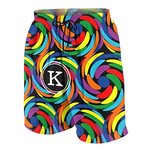 - COLSHOORTS Rainbow Swirl Pattern Editable Black Monogram Mens Hawaiian Shorts Quick Dry Summer 3D Printed Elastic Beach Trunks Aloha Short with Pocket M(10-12)