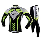 FJQXZ Men's Long Sleeve Cycling Jersey Set Bike Biking Shirt Breathable and Quick Dry F010C
