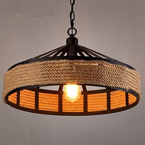 (ZIXUAA Industrial Natural Hemp Rope Metal Iron Bowl Shade Pendant Ceiling Light 1-Bulb Lighting Fixture-A-40CM )