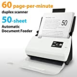 Plustek PS30D duplex document scanner, for Mac and PC. with 50 sheet Auto Document Feeder (ADF). 60 pages per minute (60 ipm)