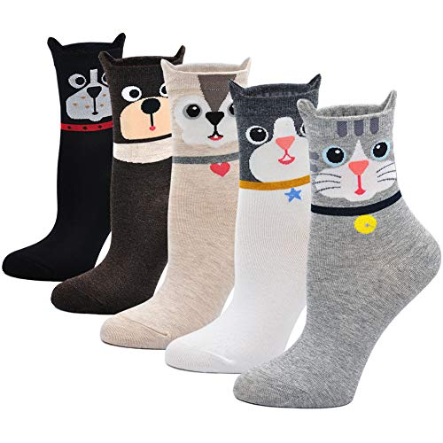 Ladies/Womens Cute Dog Casual Cotton Ankle Socks Animal Printed Novelty Liner Socks (US Women's Shoe Size 5-9, Animal-5 pairs) ()