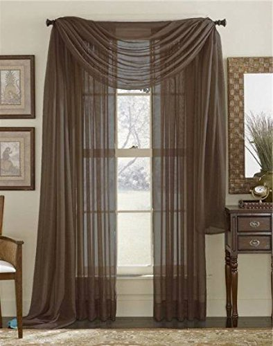 Luxury Discounts 3 Piece Sheer Voile Curtain Panel Drape Set Includes 2 Panels and 1 Scarf (84