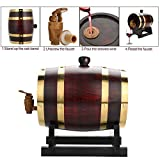 1.5L/3L Vintage Wood Oak Timber Wine Barrel Dispenser for Beer Whiskey Rum Port (1.5 L)