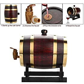 1.5L/3L Vintage Wood Oak Timber Wine Barrel Dispenser for Beer Whiskey Rum Port