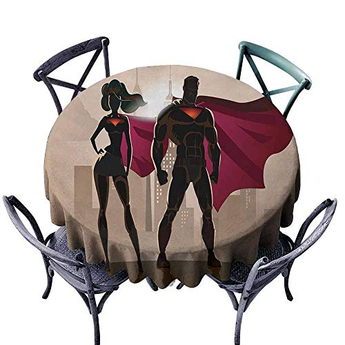 HCCJLCKS Stain-Resistant Tablecloth Superhero Super Woman and Man Heroes in City Fighting Crime Hot Couple in Costume Washable Tablecloth D47 Beige Brown Magenta ()