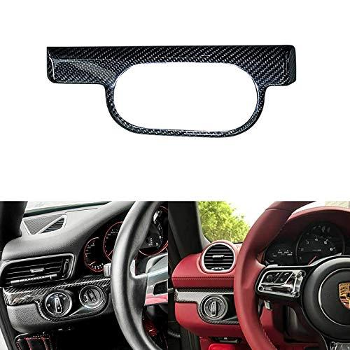 Xotic Tech for Porsche 911 Boxster 2013+ Interior Trim Cover - 1pcs Carbon Fiber Ignition Key Headlight Switch Panel Decor Sticker ()