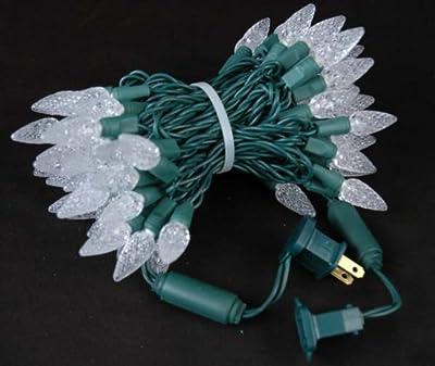Novelty Lights 70 Light C6 LED Christmas Mini Light Set, Commercial Grade Outdoor String Lights, Green Wire, 24 Feet