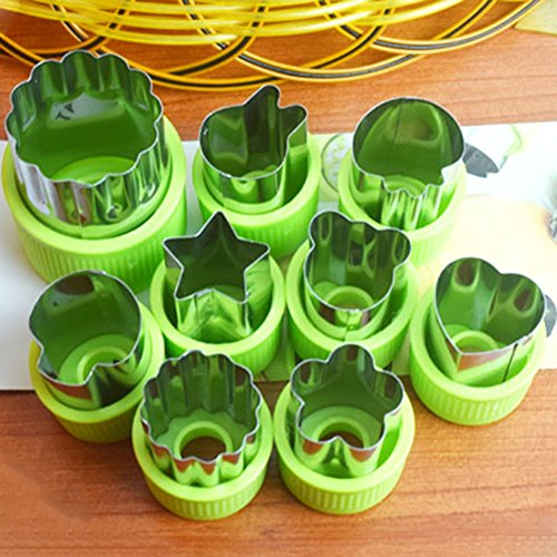 Frjjthchy 9 Piece Stainless Steel Vegetables Fruits Cutter Mold Cake Biscuit Kid Food Cutters Green - Homemade Guillotine Halloween