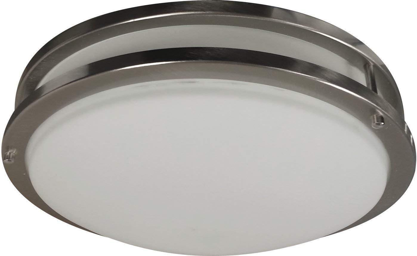 LED Decorative Brushed Nickel Round Ceiling Flush Mount Fixture 3000K 10 LED