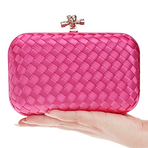 Woven Evening Hardcase Rosy Bags made Flada Girls Hand Clutch Purse Party PqxwUgBItC