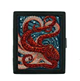 Art Red Square Cigarette Case 85s for Women/Man Bling Metal Cute Holds 20pcs Refinement Tin Plating Surface Airtight Cigarettes Box Hold ID Card & Driver's License Unique Octopus Swirl Design