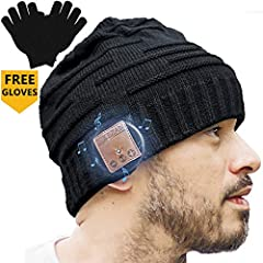 Upgraded Unisex Knit Bluetooth beanie winter music hat headphones V4.2 W/built-in stereo speaker unique Christmas tech gag gifts for boyfriend/him/men/teen Boys/stocking stuffers best friend birthday