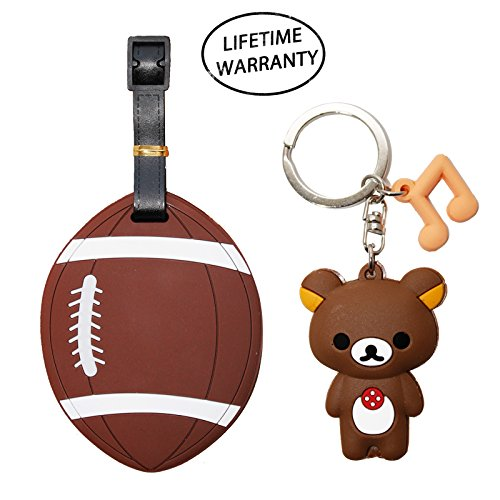 - DIYJewelryDepot Sports Ball Luggage Travel Tag for Bags & Backpacks + Bear Keychain (American Football)