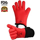 Mquality Cooking Gloves BBQ Grill Gloves Oven mitts Pot holders Silicone Heat Resistant insulated for better protection Non-Slip Easy to wash| BPA FREE| FDA Approved | Waterproof | Odorless,1 Pair