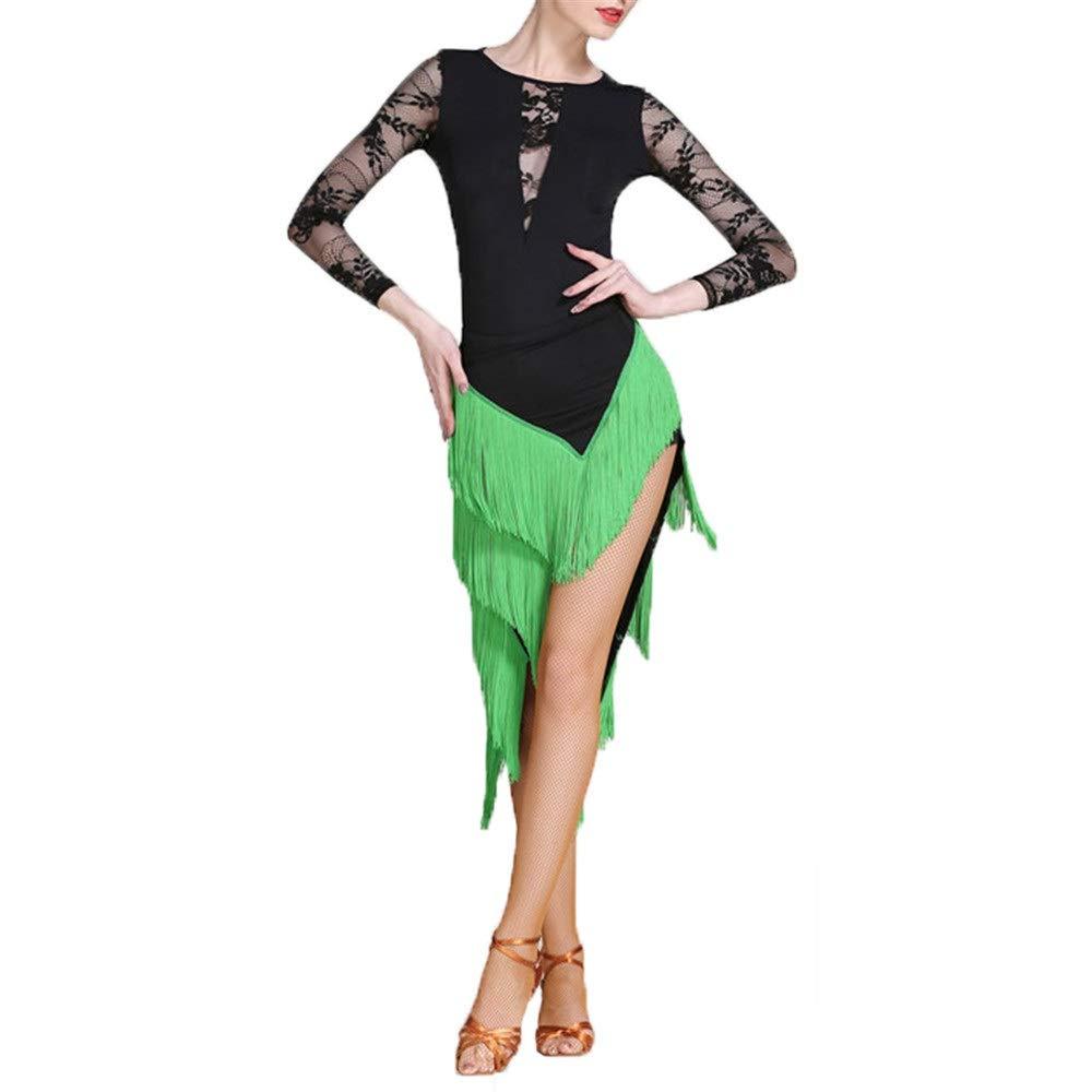 Vert XX-grand Robe de danse pour femmes Femmes Danse Latine Outfit Robe De Danse Robe Costume Ensemble Professionnel Perforhommece Danse Robe Lyrique Robe Tassel Jupe Danse Compétition Robe Costume Jupe de scène cost