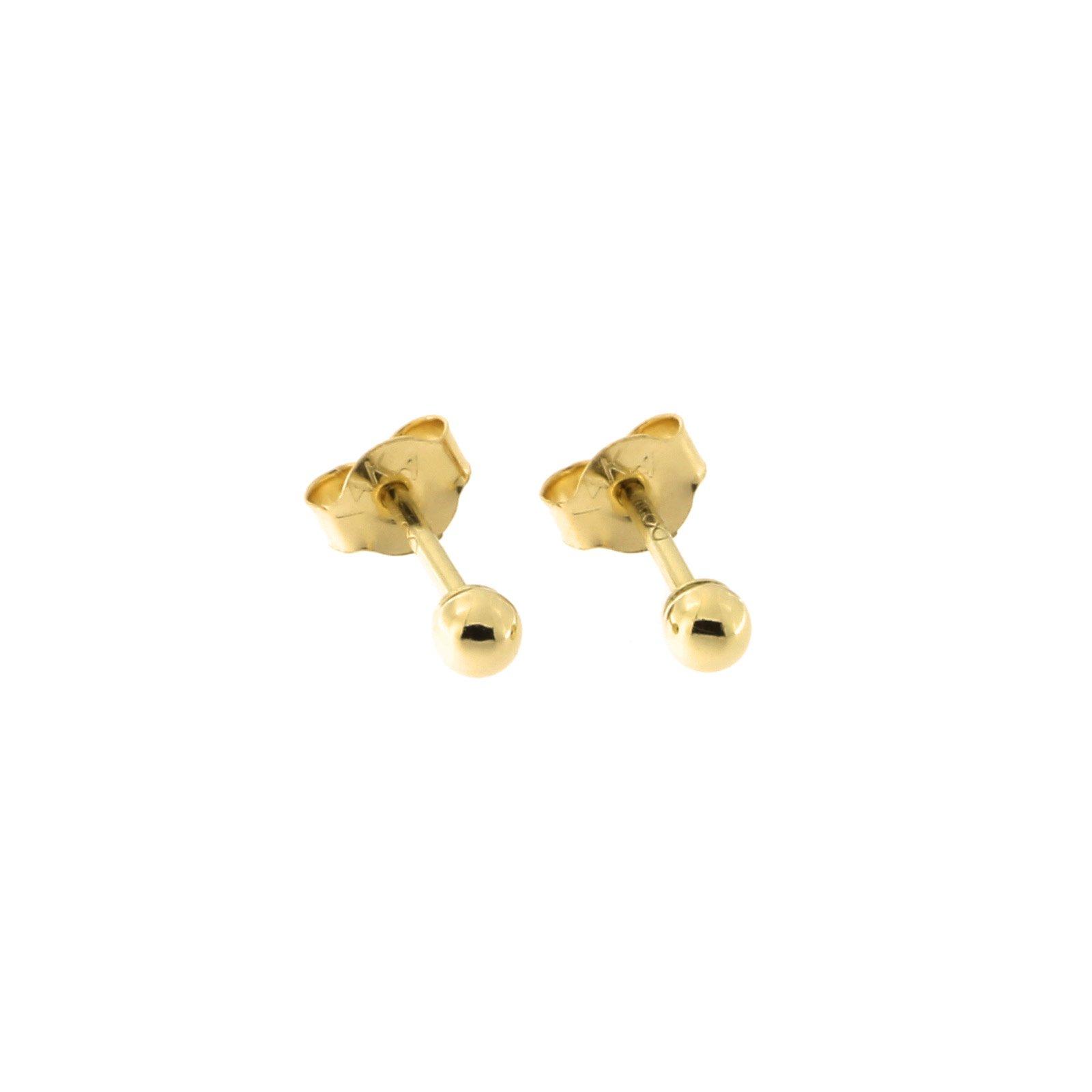 14 Karat Yellow Gold Round Bead Ball Stud Earrings, 2 Millimeters by Beauniq