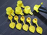 """5-Pack New Blitz Gas Can Style Aftermarket """"YELLOW SPOUT CAP"""" Works Great! Mr Yellow Cap replacement BONUS includes 5 FREE YELLOW AIR BREATHER VENT CAPS w/ Retaining Lip -EASY INSTALL-DRILL REQUIRED"""