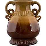 Home decor. Brown Drip Vase. Dimension: 12.5 x 11.5 x 14.25. Pattern: Majolica.
