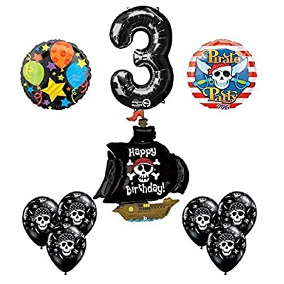 Mayflower Products Black Pirate Ship 3rd Birthday Party Supplies and Balloon Decorations: Toys & Games