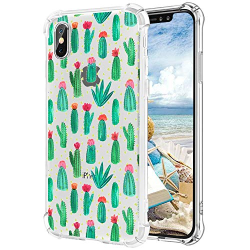 Hepix iPhone X Case Mini Cactus iPhone X Case Clear Soft Flexible TPU Protective Bumper Back Cover Case for iPhone X