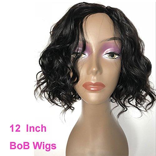 Brazilian Virgin Human Hair Wigs for Black Women Glueless Short Bob Human Hair Wigs Wavy 12inch Short Wavy Wigs On Sale Natural Color 150% Density